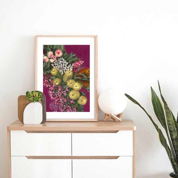 Australian Native Flower Chain Art Print Insitu