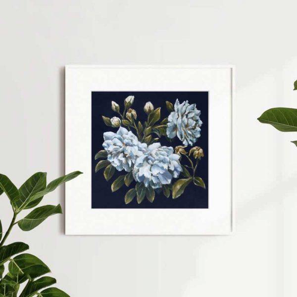 Blue Roses Dark Art Print Insitu