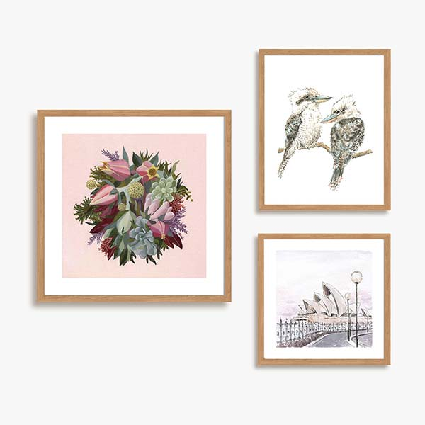 pink floral and watercolour prints