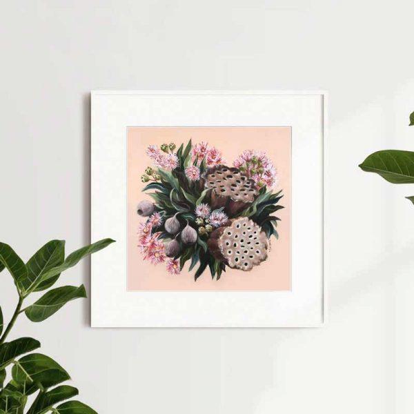 Pink Gumnut lotus and blossom bouquet art print insitu