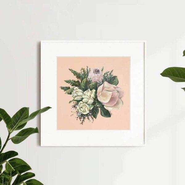 Pink Protea Cream Roses Bouquet Print Insitu