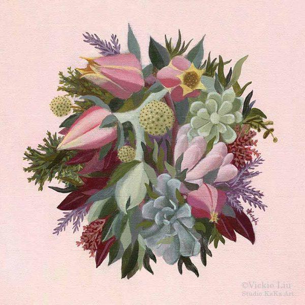 Succulent Explosion Bouquet Art Print