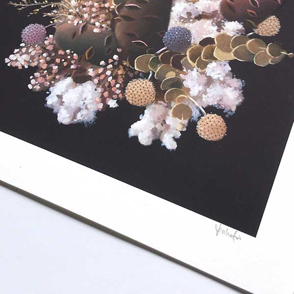 Banksia and cotton art print detail