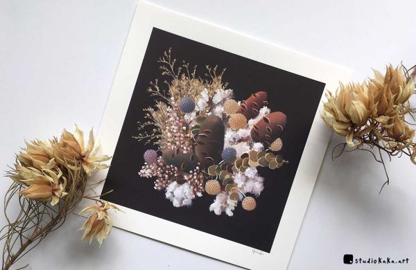 Banksia and cotton art print