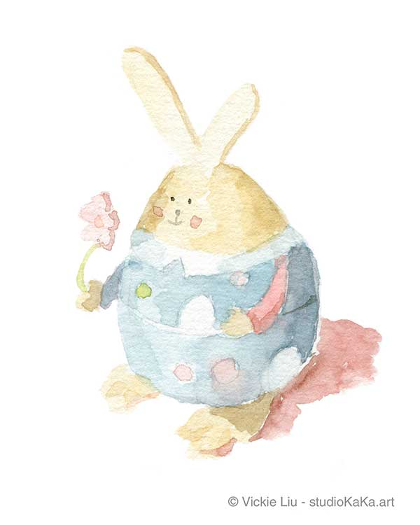 Easter Bunny Blue Art Illustration
