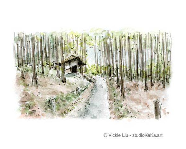 Forest Trail Watercolour Art
