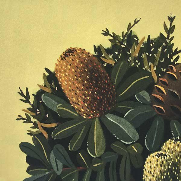 Green Banksia Art Print Detail