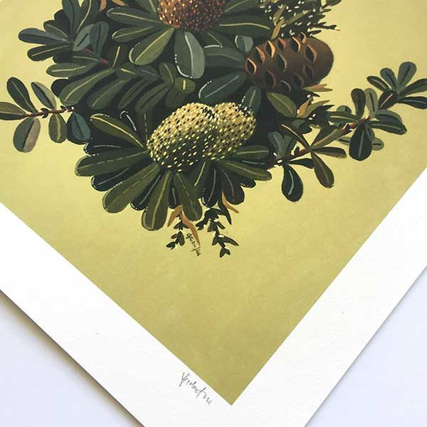 Green Banksia Art Print Detail
