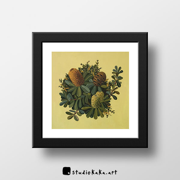 Green Banksia Art Print in Frame