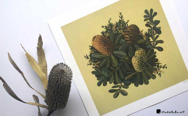 green banksia art print