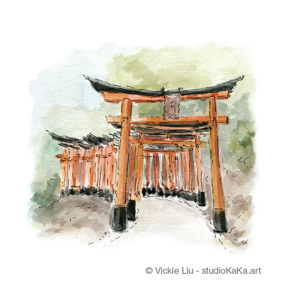 Red Torii Gates Kyoto Art Print
