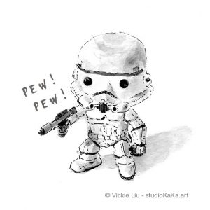 mini stormtrooper star wars art print