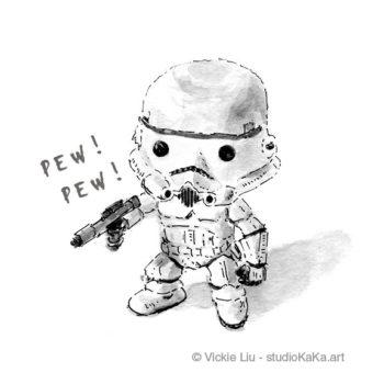 mini stormtrooper star wars art print