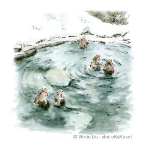 Snow Monkey Onsen Art Print