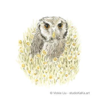 Owl in Flower Meadow Art Print