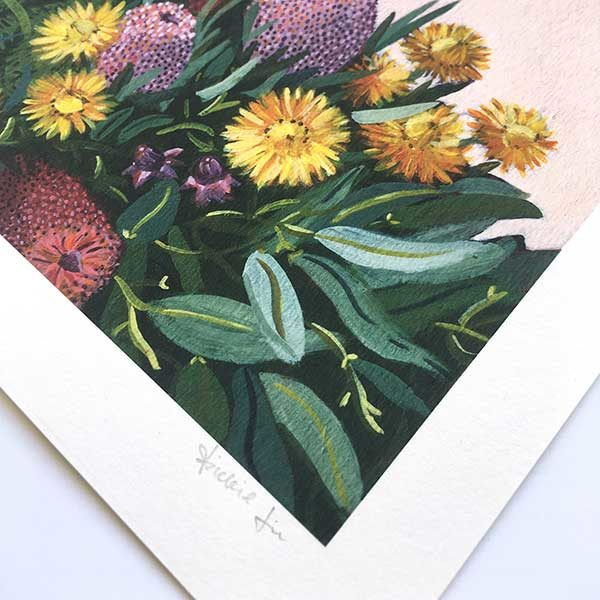 Native Bouquet and Daisy Art Print Detail