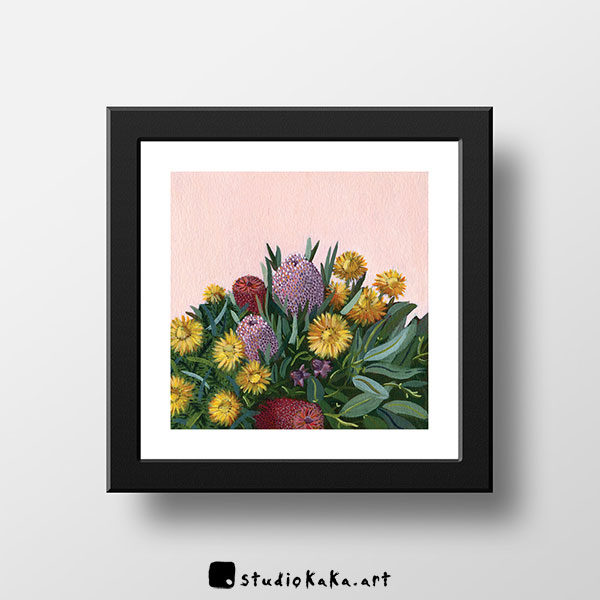 Native Bouquet and Daisy Art Print Framed
