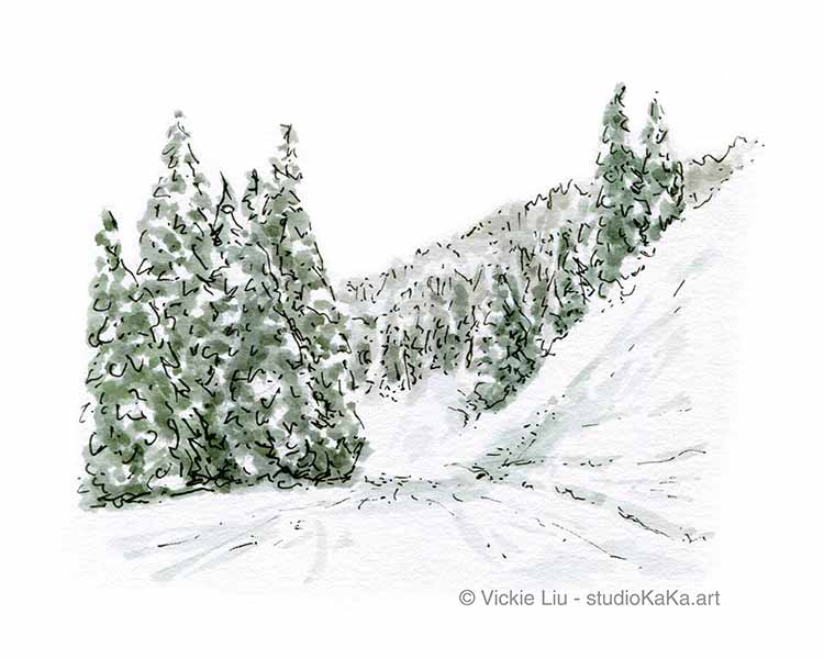 Snow trail landscape art