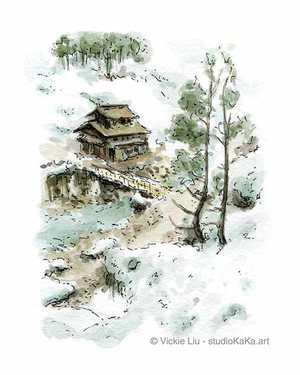 Snowy Landscape Japan Art Print