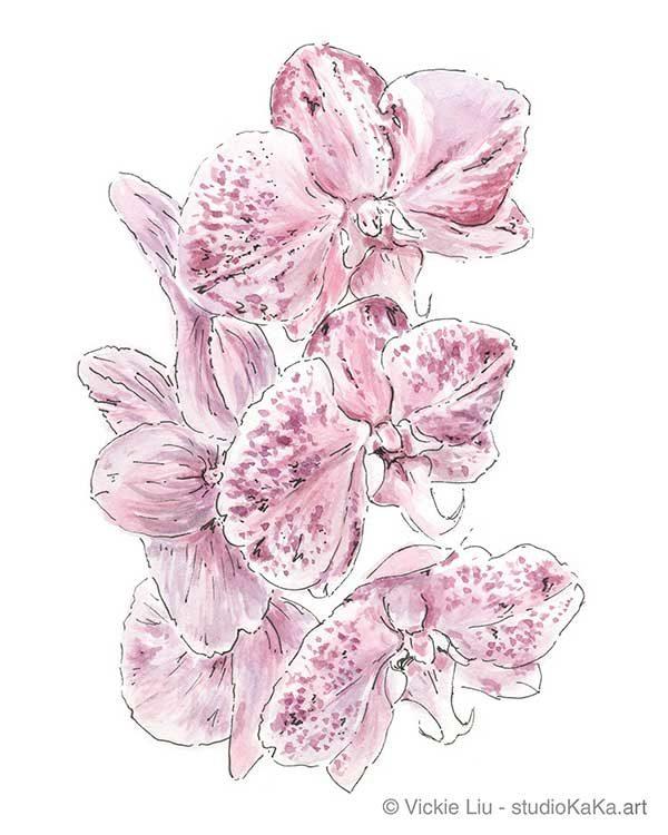 Purple Watercolour Botanical Illustration