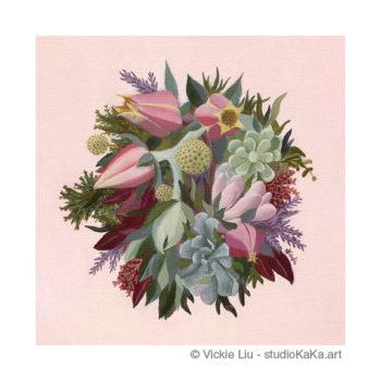 Succulent Flower Bouquet Art