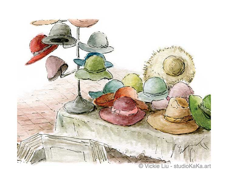 Colourful Summer Hat Art Print