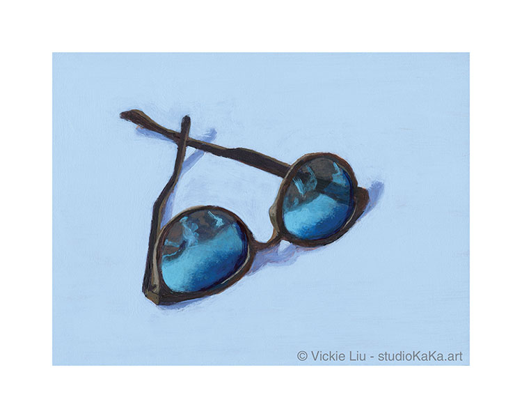 Blue sunglasses art print