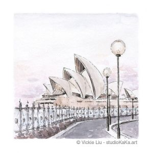 Sydney Opera House Pink Sunset Art