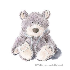 Grey Teddy Bear Nursery Art