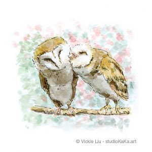 Twin Barn Owls Bird Art Print