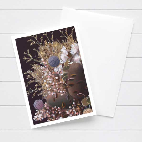 Banksia Purple Flower Card