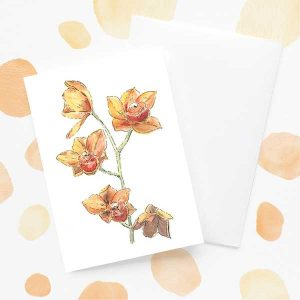 Orange orchid flower card