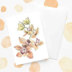 Orange & Green Orchid Flower Card
