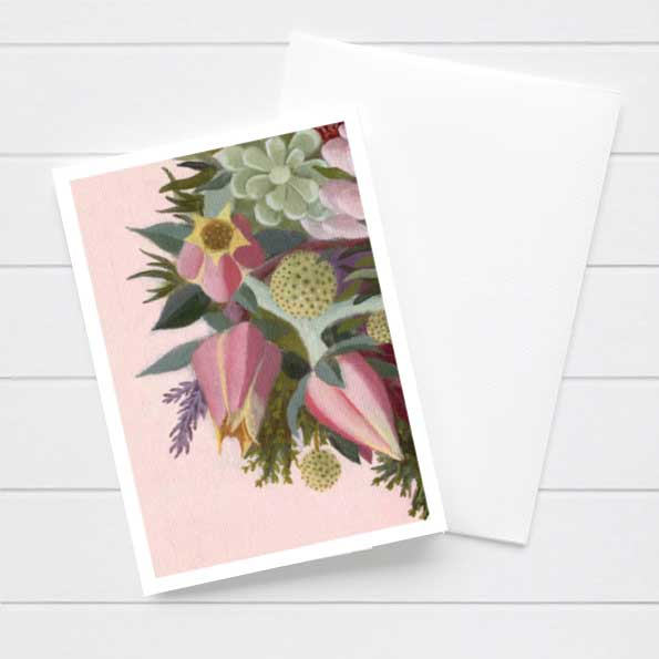 Pink Succulent Flower Card