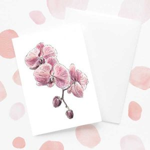Purple Orchid Floral Card