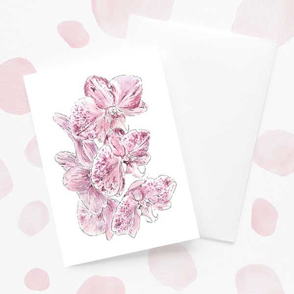 Purple Spotted Orchid Flower Card