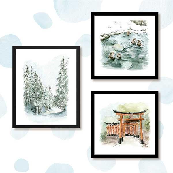 Japan watercolour print