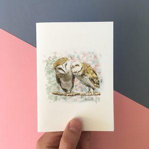 Card twin barn owls