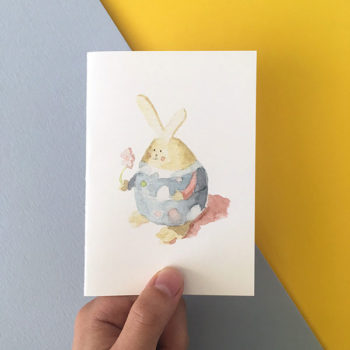 Card Easter Bunny Blue