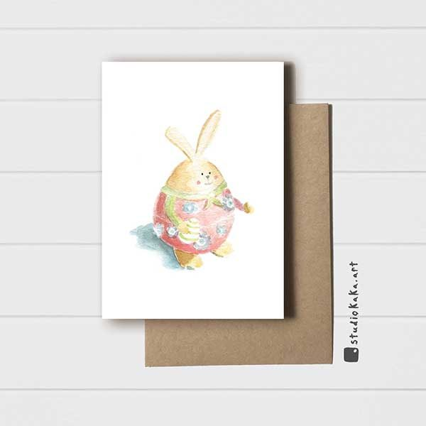 Easter Card Pink Bunny