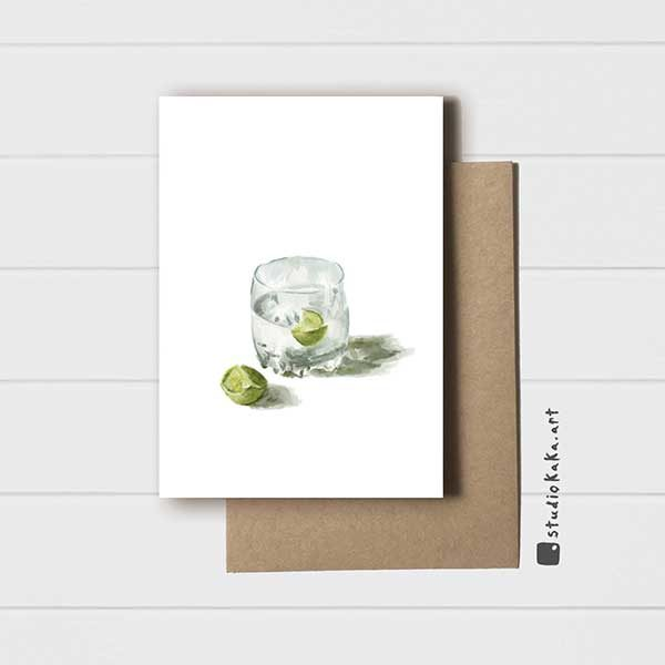 Card gin and tonic