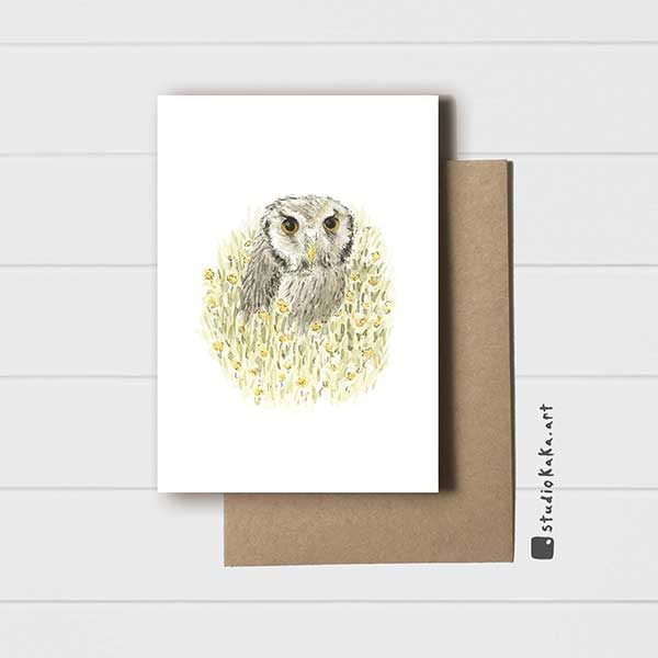 Card Owl in Meadow