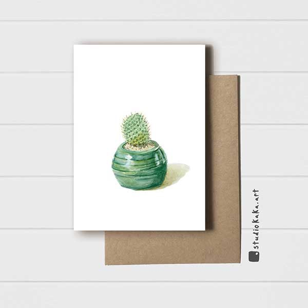 Card wonky green cactus