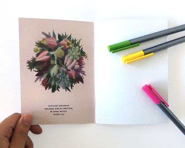 notebook pink succulent inside cover