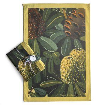 Australian Green Banksia Floral Tea Towel