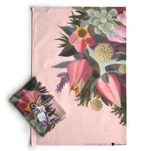 Pink Succulent Flower Tea Towel