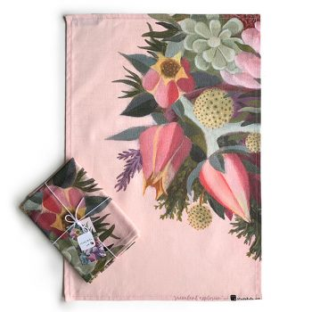 Pink Succulent Flower Tea Towel