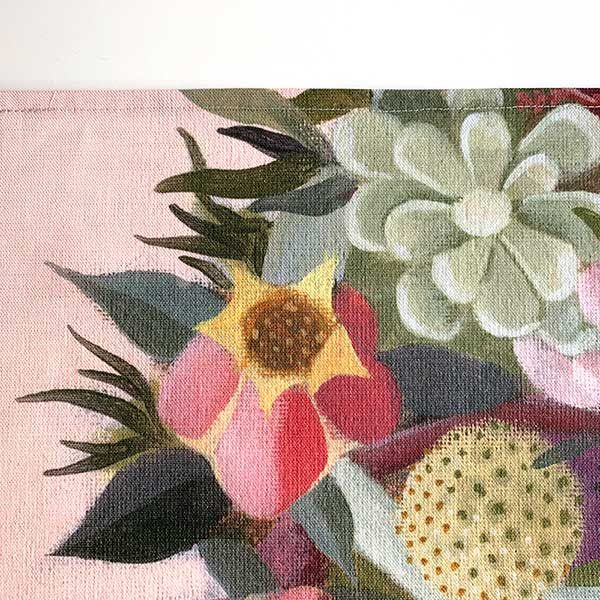 Pink Succulent Flower Tea Towel Detail