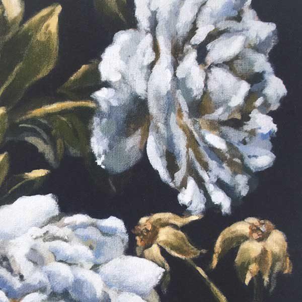 Blue Roses Floral Art Print Detail