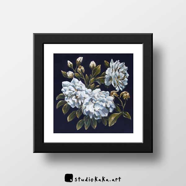 Blue Roses Floral Art Print Framed